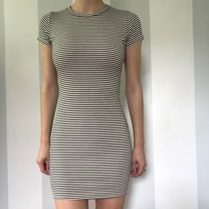 Super cute Black and Creme Stripped Midi Dress
